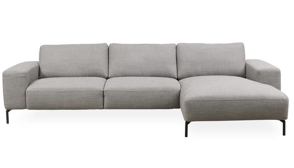 Flyder sofa i gråt stof med chaiselong