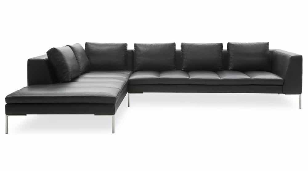 flyder sofa i sort læder med chaiselong