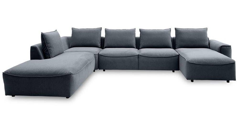 Samone hjørne flyder sofa i gråt stof
