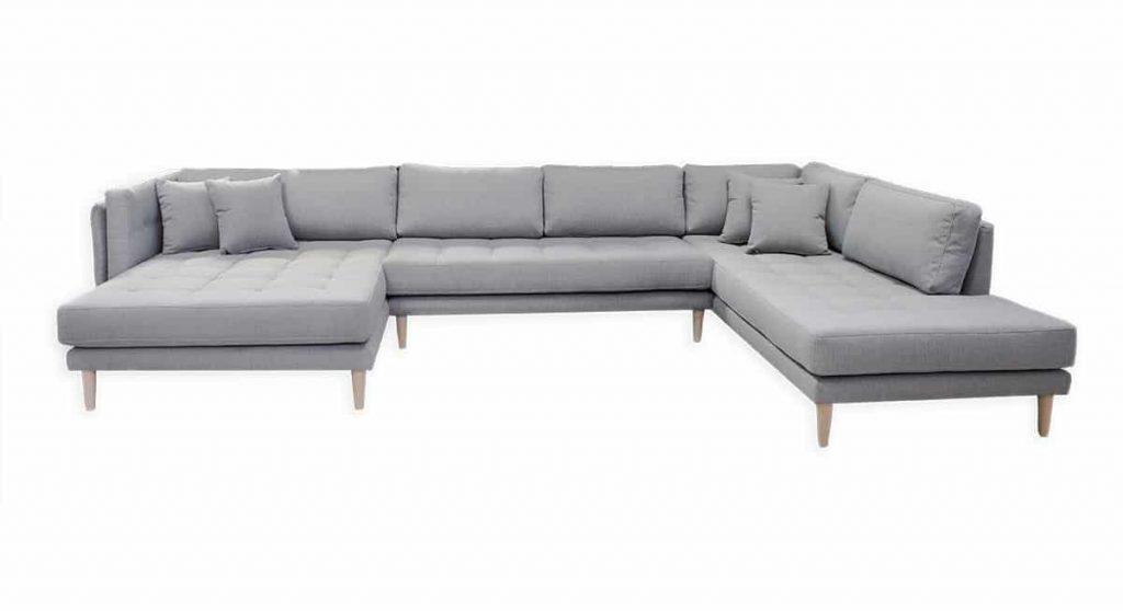 U sofa, flyder sofa, hjørnesofa, grå