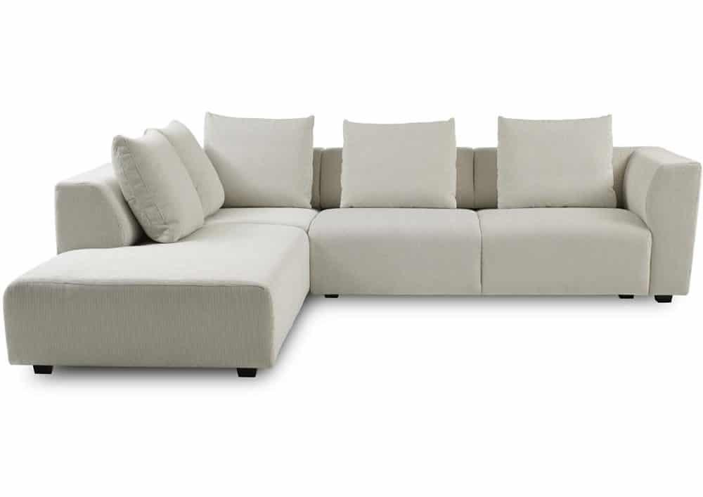 Lys sofa i bredriflet fløjl