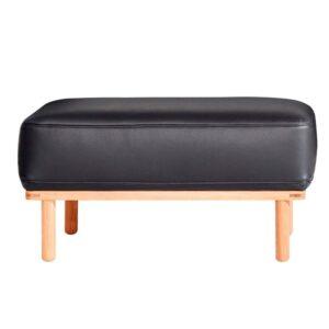 Andersen Furniture A1 puf - sort læder - hvidpigmenteret eg