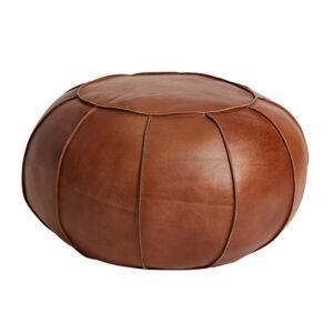 FUHRHOME Casablanca puf - ægte mørkebrunt bøffel læder (Ø 64) - Unika