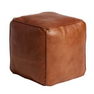 FUHRHOME St. Thomas puf, rose brown - Bøffel læder (45x45) - unika