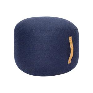 Hübsch puf med læderhank i blå uld - Ø50 cm