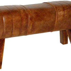 TRADEMARK LIVING Cool puf - ægte antikbrun læder og træ