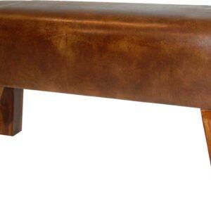 TRADEMARK LIVING Cool puf - ægte antikbrun læder og træ, lang