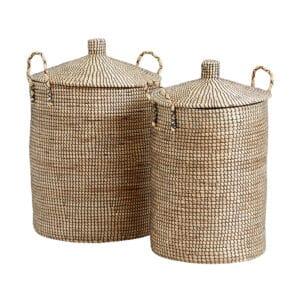 Nordal Laudy vasketøjskurve med låg i natur og sort - 2 stk